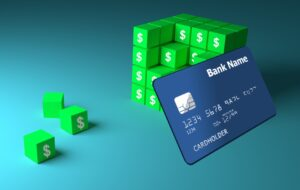 A credit card and stacks of blocks to symbolize building credit