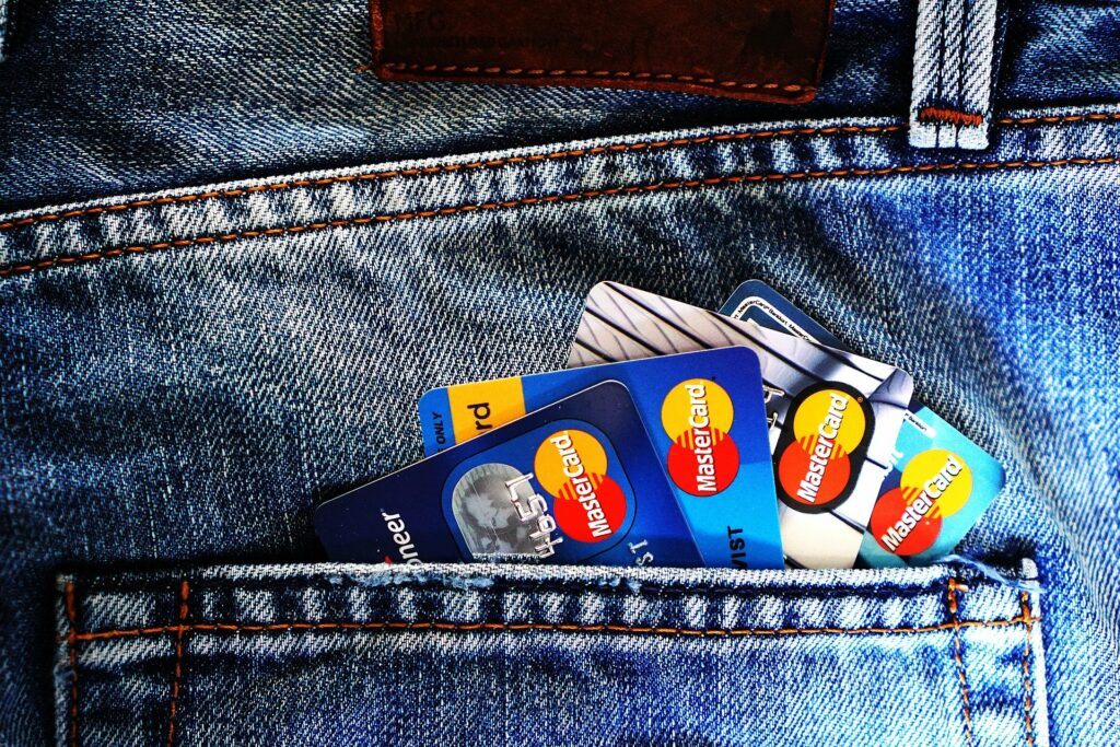 A couple of credit cards in a jean pocket