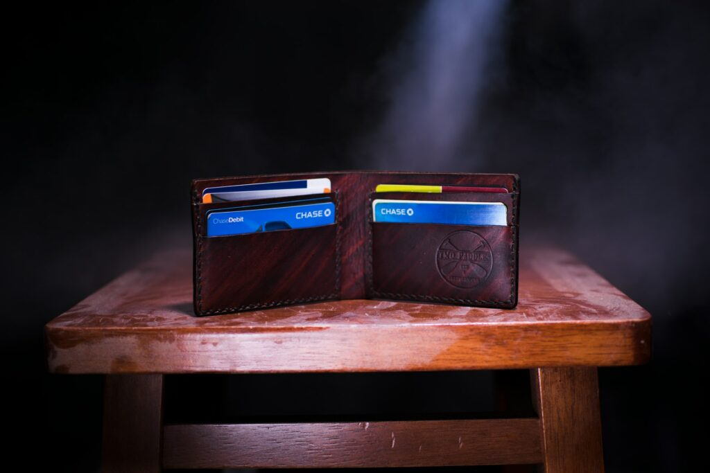 Photo of a leather wallet with multiple credit cards